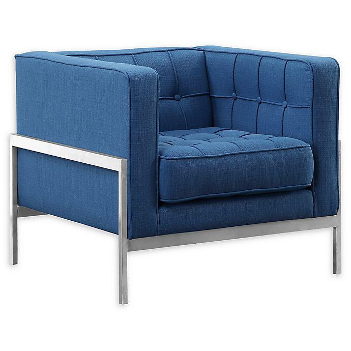 Alternate image 1 for Armen Living® Linen Upholstered Andre Sofa Chair in Blue