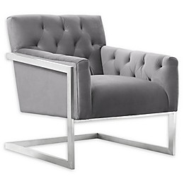 Armen Living® Velvet Upholstered Emily Chair in Grey