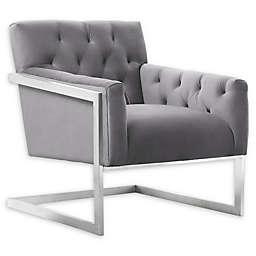Armen Living® Velvet Upholstered Emily Chair in Grey