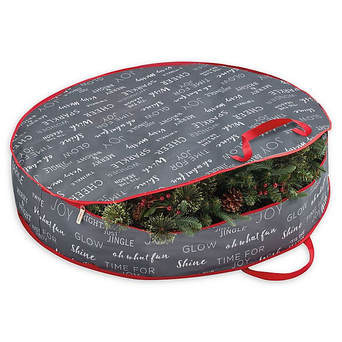 Real Simple 36 Inch Holiday Wreath Storage Bag In Grey Print Bed