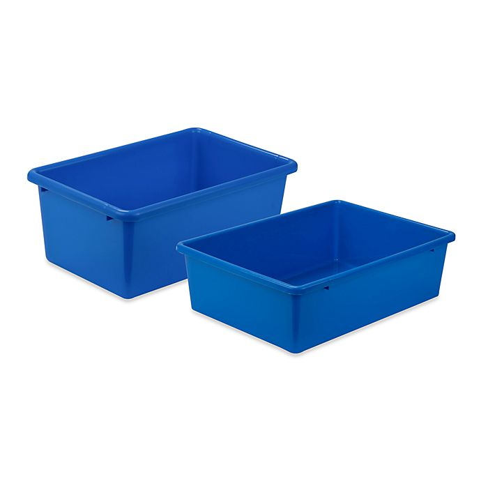 Alternate image 1 for Honey-Can-Do® Plastic Storage Bin in Blue