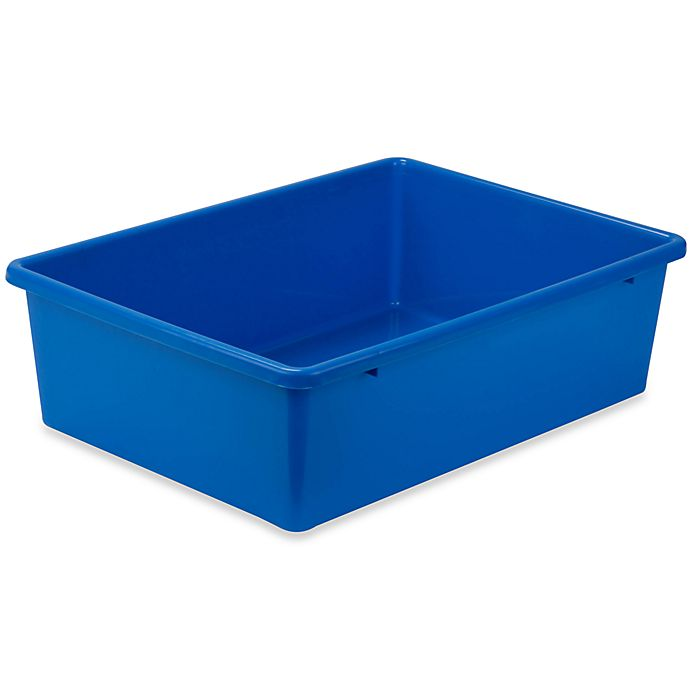 Alternate image 1 for Honey-Can-Do® Large Plastic Storage Bin in Blue