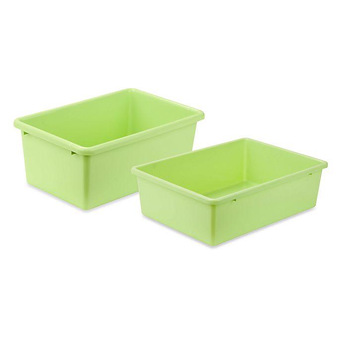 Honey Can Do Plastic Storage Bin In Light Green Bed Bath Beyond