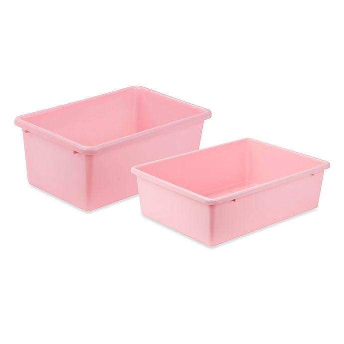 Alternate image 1 for Honey-Can-Do® Plastic Storage Bin in Light Pink