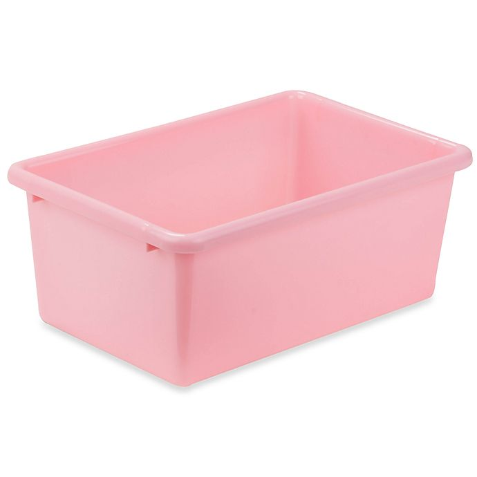 Alternate image 1 for Honey-Can-Do® Small Plastic Storage Bin in Light Pink