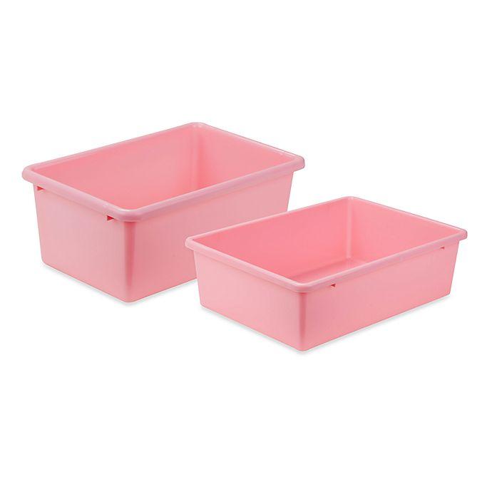 Alternate image 1 for Honey-Can-Do® Plastic Storage Bin in Dark Pink