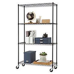 Trinity Wire Shelving Rack with Wheels in Black