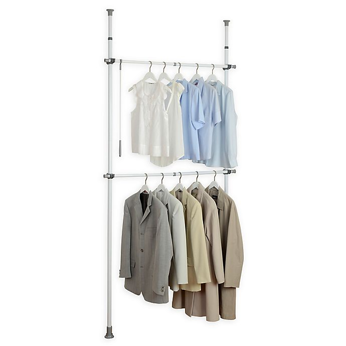 Wenko Kerkules 2 Tier Telescopic Basic Closet Organization System