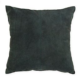 Theo Suede Square Throw Pillow in Green