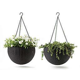 Keter® Resin Indoor/Outdoor Hanging Planters in Brown (Set of 2)