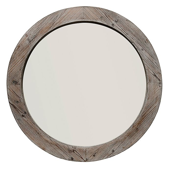 Reclaimed Wood 36 Inch Round Wall Mirror In Grey Brown