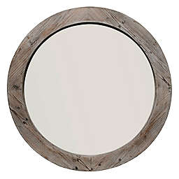Reclaimed Wood 36-Inch Round Wall Mirror in Grey/Brown