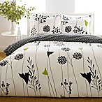 Perry Ellis® Asian Lily Reversible Full/Queen Duvet Cover Set in Black
