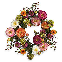 Nearly Natural 24-Inch Peony Wreath