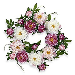 Nearly Natural 22-Inch Peony Wreath