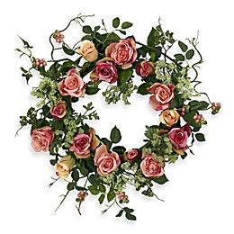 Nearly Natural 20-Inch Rose Wreath