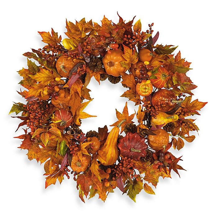 Alternate image 1 for Nearly Natural 28-Inch Harvest Pumpkin Wreath in Red