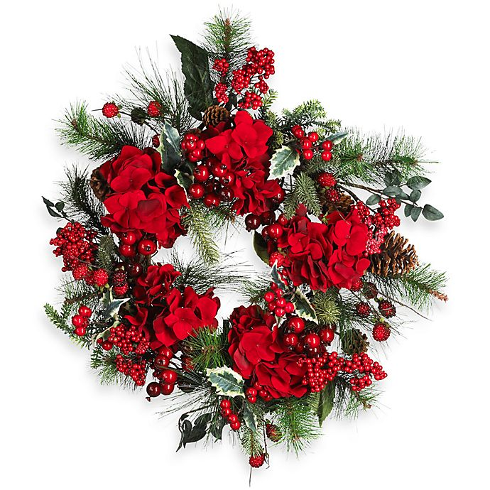 Alternate image 1 for Nearly Natural 22-Inch Hydrangea Holiday Wreath