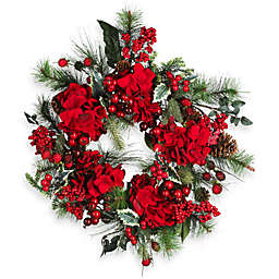 Nearly Natural 22-Inch Hydrangea Holiday Wreath