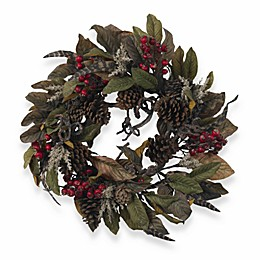 "Nearly Natural 24"" Pinecone, Berry & Feather Wreath"