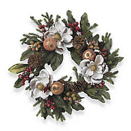 Nearly Natural 24-Inch Magnolia Pinecone and Berry Wreath in Beige/White