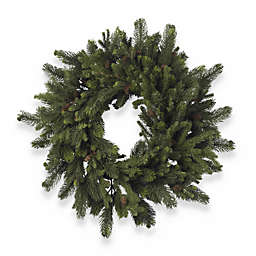 Nearly Natural 30-Inch Pine & Pinecone Wreath in Green