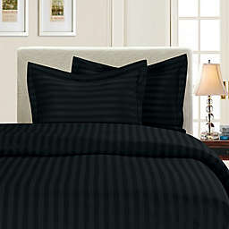 Elegant Comfort™ Dobby Stripe 2-Piece Reversible Twin/Twin XL Duvet Set in Black