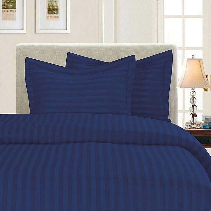 Alternate image 1 for Elegant Comfort Dobby Stripe Reversible Twin/Twin XL Duvet Cover Set in Navy