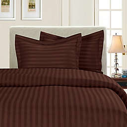 Elegant Comfort™ Dobby Stripe 2-Piece Reversible Twin/Twin XL Duvet Set in Chocolate Brown