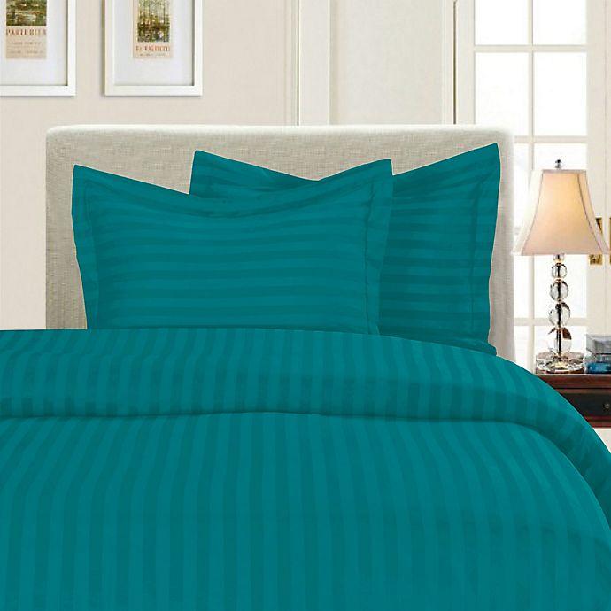 Alternate image 1 for Elegant Comfort Dobby Stripe Reversible King/California King Duvet Cover Set in Turquoise