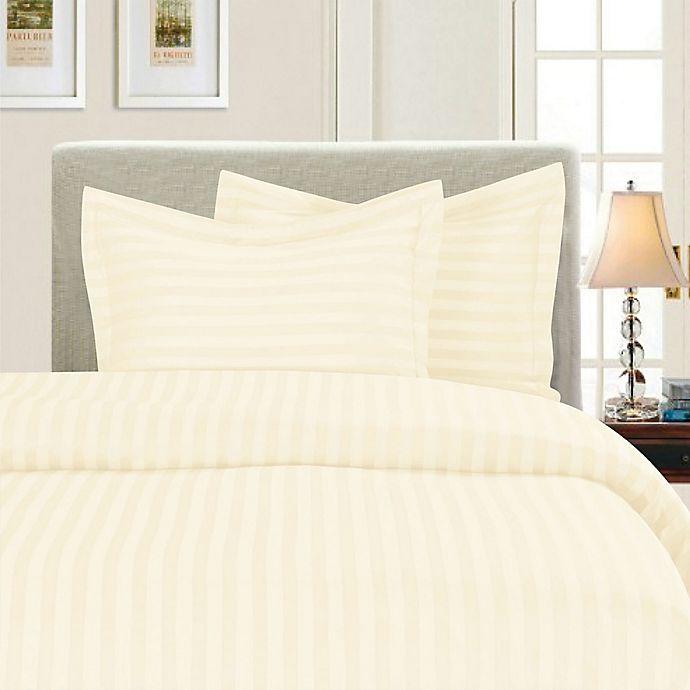 Alternate image 1 for Elegant Comfort Dobby Stripe Reversible Full/Queen Duvet Cover Set in Ivory