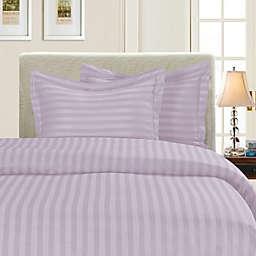 Elegant Comfort Dobby Stripe Reversible King/California King Duvet Cover Set in Lilac