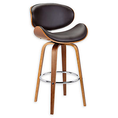 Armen Living® Faux Leather Swivel Solvang Bar Stool in Brown