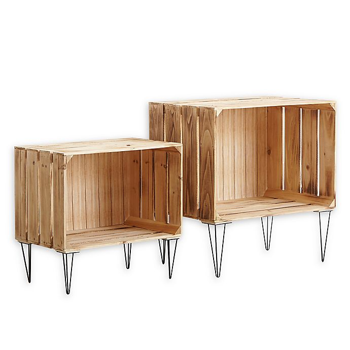 Alternate image 1 for Urban Shop Nesting Storage Crates in Brown (Set of 2)
