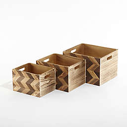 Urban Shop Chevron Storage Crates in Brown (Set of 3)