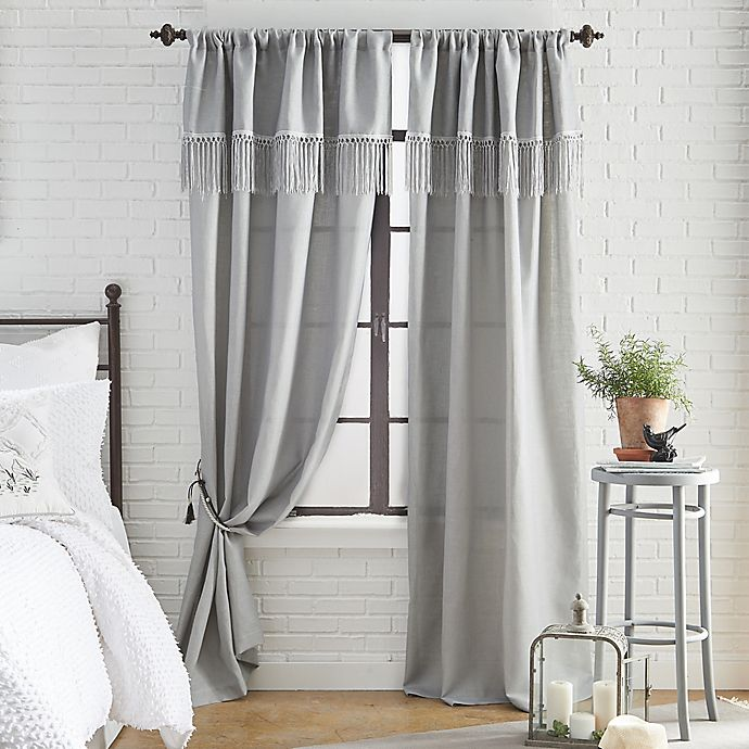 Alternate image 1 for Roxy Solid 95-Inch Rod Pocket Window Curtain Panel in Dove Grey