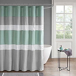 510 Design Tinsley Pieced and Pintucked Shower Curtain with Liner in Seafoam/Grey