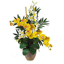 Nearly Natural 29-Inch Double Phalaenopsis & Dendrobium Silk Flower Arrangement in Yellow & Cream