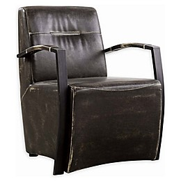 Donny Osmond Home™ Industrial Faux Leather Accent Chair in Dark Brown