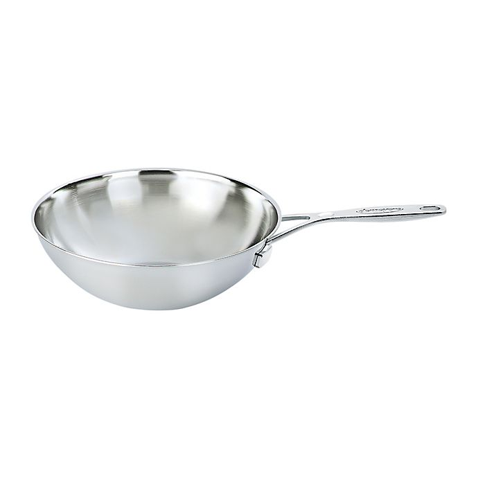 Alternate image 1 for Demeyere Industry 5 qt. Stainless Steel Flat Bottom Wok with Helper Handle