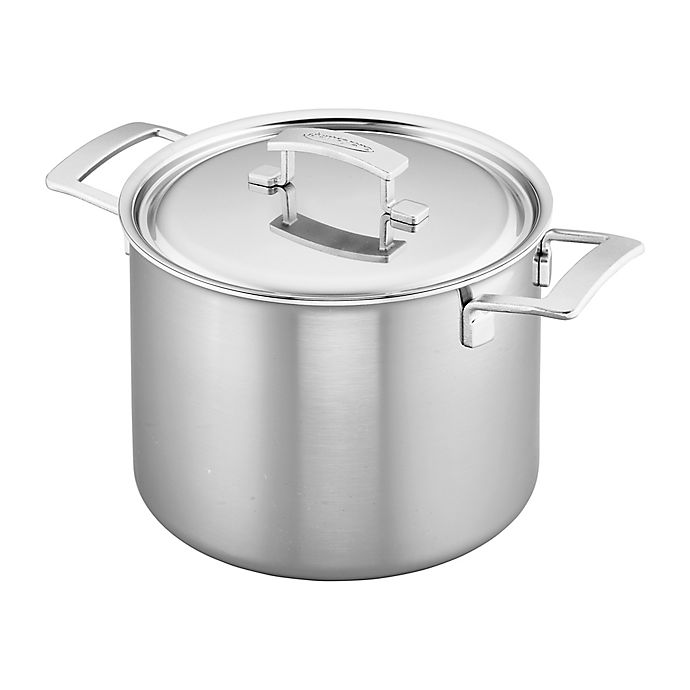 Alternate image 1 for Demeyere Industry 8 qt. Stainless Steel Covered Stock Pot