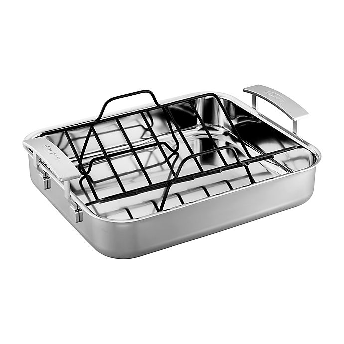 Alternate image 1 for Demeyere Industry 15.7-Inch x 13.3-Inch Stainless Steel Roasting Pan
