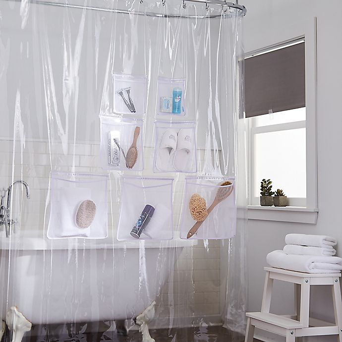 Alternate image 1 for Stuffits Vinyl Shower Curtain with Mesh Pockets Collection