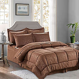 Bamboo Pattern 8-Piece King/California King Comforter Set in Chocolate Brown