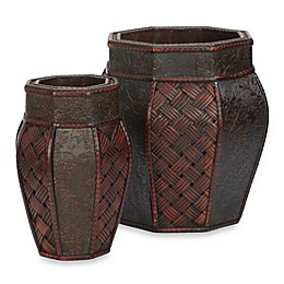 Nearly Natural 9-Inch Design and Weave Panel Decorative Planters (Set of 2)