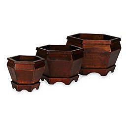 Nearly Natural 5-7-Inch Wooden Hexagon Decorative Planters (Set of 3)