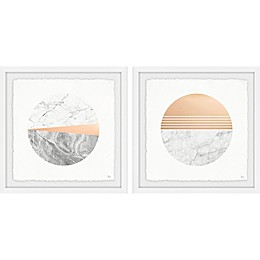 Marmont Hill Marble Finish Framed Diptych Wall Art (Set of 2)