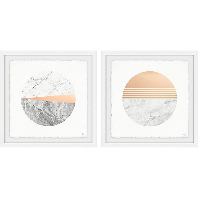 Alternate image 1 for Marmont Hill Marble Finish 18-Inch Square Framed Diptych Wall Art (Set of 2)