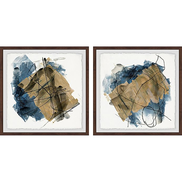 Alternate image 1 for Marmont Hill Layered Brush Strokes 24-Inch x 12-Inch Framed Diptych Wall Art (Set of 2)