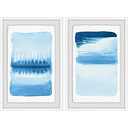 Marmont Hill Blue Flows Framed Diptych Wall Art (Set of 2)
